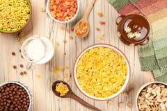 Fundo do café da manhã dos flocos de milho Fotografia de Stock