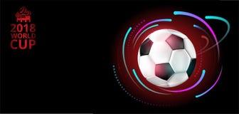 Fundo 2018 do campeonato do mundo do futebol com bola de futebol Ilustração do Vetor