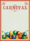 Fundo do carnaval Balões coloridos circus Poster do vintage invitation billboard Imagens de Stock