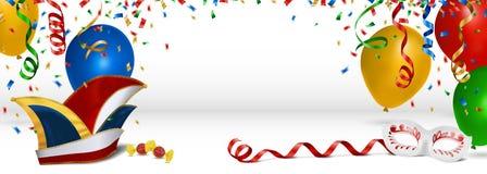Fundo do carnaval com flâmulas e ballons dos confetes ilustração do vetor