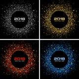 Fundo do cartão do ano novo feliz 2018 do vetor O disco claro de prata ilumina o quadro de intervalo mínimo do círculo Ilustração Royalty Free
