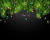 Fundo do cartão de Natal com ramos do abeto e cones do pinho Imagem de Stock Royalty Free