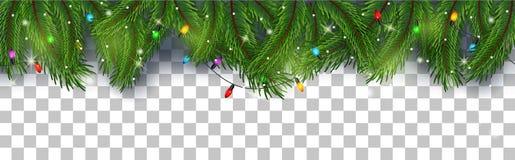 Fundo do cartão de Natal com ramos do abeto e cones do pinho Fotos de Stock Royalty Free
