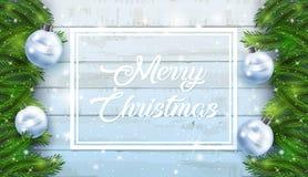 Fundo do cartão de Natal com ramos do abeto e cones do pinho Imagens de Stock Royalty Free