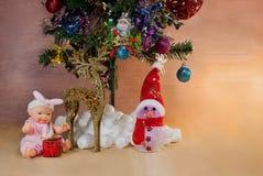 Fundo do cartão de Natal com testes padrões Foto de Stock Royalty Free