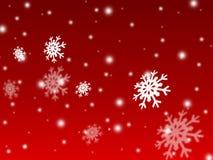 fundo do cartão vermelho da neve do Natal Fotografia de Stock Royalty Free