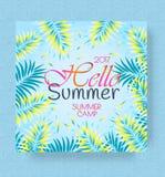 Fundo do cartaz das férias de verão e do acampamento de verão do vetor olá! ilustração stock