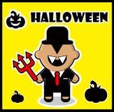 Fundo do cartaz do cartão de dracula do homem de negócios do diabo do ícone ilustração royalty free