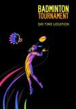 Fundo do cartaz ou do inseto do convite do esporte do badminton com espaço vazio, molde da bandeira ilustração royalty free