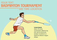 Fundo do cartaz ou do inseto do convite do esporte do badminton com espaço vazio, molde da bandeira Fotos de Stock