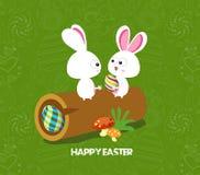 Fundo do cartão de Páscoa - log com ovos e o coelho coloridos Imagem de Stock Royalty Free