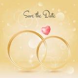 Fundo do casamento com anéis e pedra preciosa, bokeh Foto de Stock Royalty Free