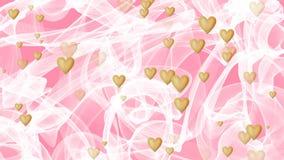 Fundo do casamento, véu branco de ondulação no fundo cor-de-rosa, coração dourado que aparece e que desaparece ilustração stock