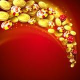 Fundo do casino com microplaquetas, excrementos e dinheiro Imagem de Stock Royalty Free