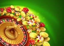 Fundo do casino com microplaquetas, excrementos e roleta Imagens de Stock