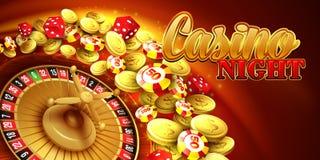 Fundo do casino com microplaquetas, excrementos e roleta Fotos de Stock