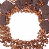 Fundo do chocolate dos feijões de café Imagens de Stock