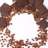 Fundo do chocolate dos feijões de café Foto de Stock