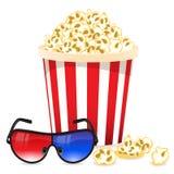 Fundo do cinema com vidros 3D e pipoca Fotografia de Stock