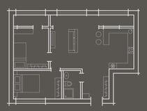 Fundo do cinza do apartamento do quarto do esboço dois do plano Imagem de Stock