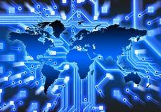 Fundo do circuito do mapa de mundo Imagem de Stock Royalty Free