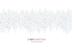 Fundo do circuito eletrônico da conexão do Cyber Spu Linhas projeto do circuito ilustração do vetor