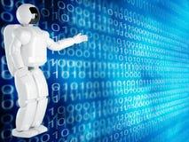Fundo do computador com robô Foto de Stock Royalty Free