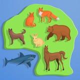 Fundo do conceito do animal de terra, estilo dos desenhos animados ilustração do vetor