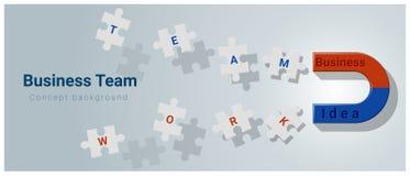 Fundo do conceito da equipe do negócio com o ímã que atrai o enigma de serra de vaivém Foto de Stock