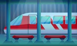 Fundo do conceito da estação de trem, estilo dos desenhos animados ilustração stock