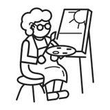 Fundo do conceito da pintura da pessoa idosa, estilo do esboço ilustração stock