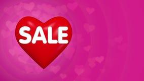 Fundo do conceito da venda do dia de Valentim, coração vermelho grande com texto video estoque