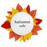 Fundo do conceito da venda do outono, estilo realístico ilustração do vetor