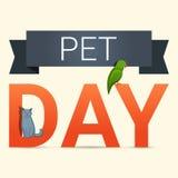Fundo do conceito do dia do animal de estimação, estilo dos desenhos animados ilustração stock