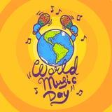 Fundo do conceito do dia da música do mundo, estilo tirado mão ilustração royalty free