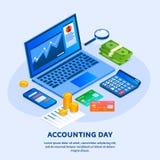 Fundo do conceito do dia de contabilidade, estilo isométrico ilustração royalty free
