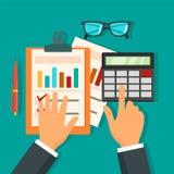Fundo do conceito do dia de contabilidade do imposto, estilo liso ilustração royalty free