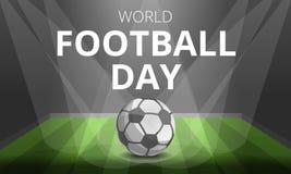 Fundo do conceito do dia do futebol, estilo dos desenhos animados ilustração do vetor