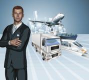 Fundo do conceito do homem de negócio da logística Fotografia de Stock Royalty Free