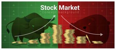Fundo do conceito do negócio e da finança com mercado de valores de ação Fotografia de Stock Royalty Free