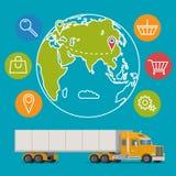 Fundo do conceito do serviço de entrega do vetor Logística no negócio e na indústria Imagens de Stock Royalty Free