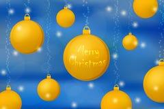 Fundo do conceito do Xmas e do ano novo Bolas do Natal do ouro em brilhar o fundo ciano ilustração stock