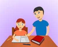 Fundo do conceito dos trabalhos de casa do filho da ajuda do homem, estilo dos desenhos animados ilustração do vetor