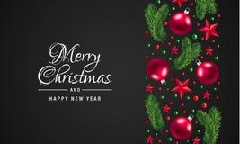 Fundo do conceito do Feliz Natal e do ano novo feliz, estilo realístico ilustração royalty free