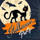 Fundo do conceito do gato preto de Dia das Bruxas, estilo tirado mão ilustração royalty free