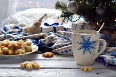 Fundo do conceito do Natal e da celebração do feriado do ano novo Copo do cacau com marshmallow, a cookie caseiro do chocolate e  Foto de Stock Royalty Free