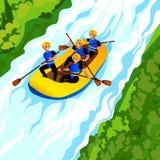 Fundo do conceito transportar de rio, estilo dos desenhos animados ilustração do vetor