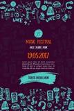 Fundo do concerto da música Ilustração moderna do vetor do inseto do festival Projeto do molde do cartaz do evento da música Fotos de Stock Royalty Free