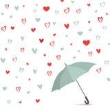 Fundo do coração com guarda-chuva Teste padrão do amor para o cartão Fotos de Stock