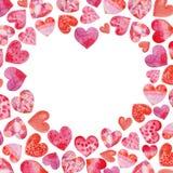 Fundo do coração da aquarela com corações fotos de stock royalty free